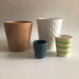 "Set of 4: Beige+white medium planter/ plant pot 5-6"" and 2 mini pots 2½-3"""