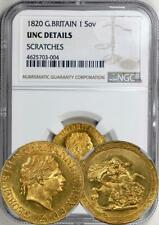Great Britain 1820 George III Gold Sovereign NGC UNC!