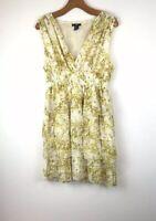H &M Women's Floral Print Ruffle Cocktail Dress Size 12, Sleeveless