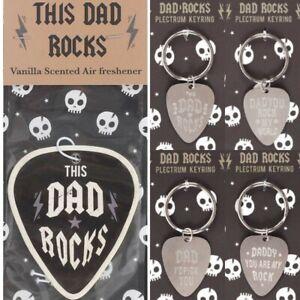 Dad Rocks Keyring Air Freshener Gift Plectrum Pick Fathers Day Daddy Key Ring UK
