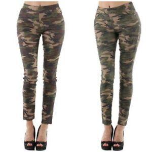 Pantalon slim militaire camouflage imprimé kaki femme