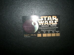 "STAR WARS TRILOGY TRIVIA GAME PIECE ""EPISODE IV-A NEW HOPE NEVER"" SCRATCHED OFF"