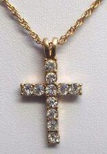 Beau pendentif collier plaqué or bijou style vintage croix cristaux diamant 62