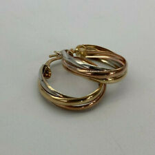 9ct Gold Hallmarked 3 x Colour Gold Hoop Earrings.  Goldmine Jewellers.