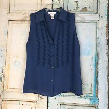 Women's JONES NEW YORK Blue Sleeveless 100% Silk Button Front SIZE 6p