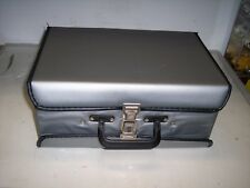 GRAY TWO-SIDED FAUX LEATHER CASE FOR CASSETTE TAPES<<HOLDS 60 TAPES   #19