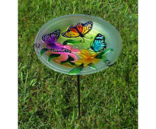 Songbird Essentials 13in Staked Butterfly Trio Textured Glass Birdbath Se5019