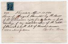 1870 Hinsdale New Hampshire Document Receipt Hannah Smith Estate Legal Nh