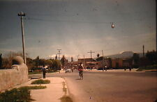 KODACHROME Red Border 35mm Slide Mexico City Old Car Buses Bicycle People 1950s!