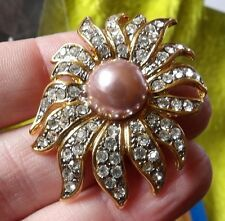 GORGEOUS GOLD PLATED, CRYSTAL SET IMITATION PEARL SUNFLOWER BROOCH G483-40
