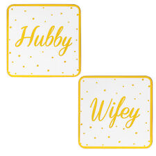 Blanco/Oro Conjunto De 2 Vajilla Dorso de Corcho Posavasos - Marido / Wifey