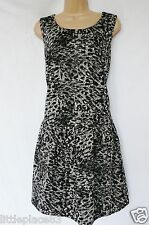 NEXT BNWT RRP38 Party black grey animal print jersey stretch skater dress 18 R
