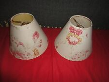 WAVERLY NORFOLK ROSES FLORAL RED CREAM (2) CLIP-ON LAMPSHADES LAMP SHADE 4X7X9