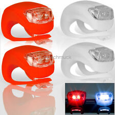 2PC Red Silicone Bike Bicycle Cycling Head Front Rear Wheel LED Flash Light Lamp