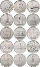 """RUSSIA 14 coins 5 roubles 2016 UNC """"Capitals liberated by the Soviet Troops"""""""