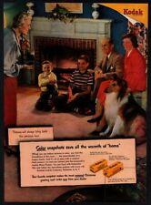 1950 KODAK Kodakcolar - Cute COLLIE Puppy Dog - Family - Fireplace VINTAGE AD