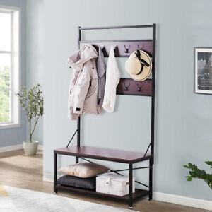 10 Hooks Hat&Coat Stand Hall Tree Hallway Shoe Rack Bench Storage Organiser 6FT