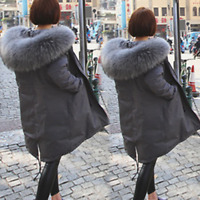 Big Fur Collar Hooded Women's Korean Snow Parka Coat Jacket Winter Outwear F796