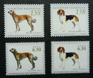 [SJ] Kazakhstan Estonia Joint Issue Hunting Dogs 2005 Pet (stamp pair) MNH