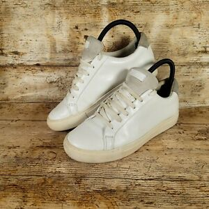 Kurt Geiger White Leather with Grey Suede Tongue Ladies Trainers UK 6 EUR 39