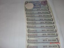 India Paper Money - 10 X Re. 1/- Old Notes - S.Venkitaramanan -Rare- A-48 # Aa16