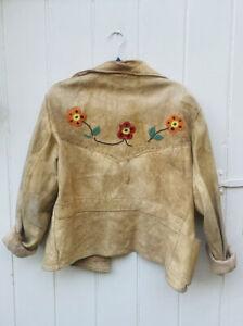 Vintage Antique Suede Cowboy Embroidered Jacket Oversized