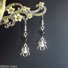 Scary Spider Black Bead Dangly Earrings - Halloween Witch