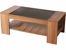 Black Gloss & Walnut Veneer Coffee Table - Hollywood by Seconique