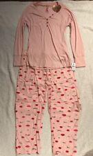 Betsey Johnson Rib Long Sleeve & Flannel PJ's Set Lips Pink Size Large NWT