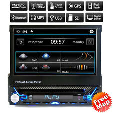 """7"""" HD Touch Screen Double 2 DIN Car GPS Stereo Flip Out DVD Player Bluetooth Rad"""