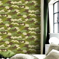 CAMOUFLAGE 10M WALLPAPER GREEN KIDS BEDROOM WALLPAPER FEATURE WALL
