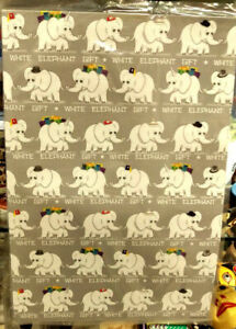 """New! White Elephant Gift Wrap 2 sheets per pack 20""""x30"""" - even has a Uni-phant !"""