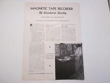 Audio Engineering Article Magnetic Tape Recorder Harold Lindsay of Ampex 1948