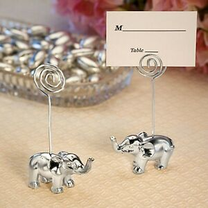 6 Silver Elephant Place Card Holders Wedding Bridal Shower Party Favors MW70073