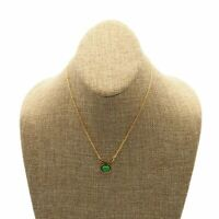 Vintage Gold Tone Cable Chain With Green Enamel Apple Pendant Fashion Necklace