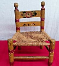 Antique Primitive Folk Art Child's Doll Chair Wood Rush Seat Hand Painted Mexico