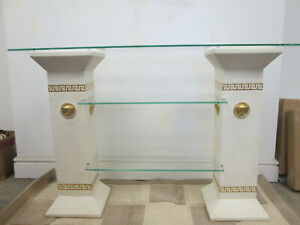 versace logo tv unit/ hall table with shelves in off white and gold