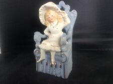 Vintage Bisque Porcelain German Figurine Young Girl Figure in Chair Throne 6'
