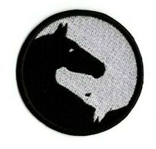YIN YANG HORSE PATCH EMBROIDERED BLACK & WHITE HORSE IRON ON TO SEW ON PATCH
