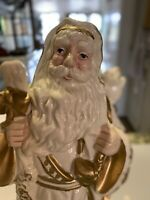 Vintage Santa Claus Figurines White With Gold Trim Holds Nap Sack Old World