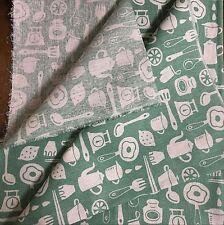 50x150cm Cotton Linen Fabric DIY craft Material Print Kitchen Ware Green Base 7F