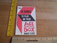 1966 Jack in the Box Magic Flute sheet music pamphlet with 10 songs