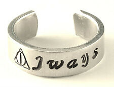 Sterling Silver Always Harry Potter Inspired Deathly Hallows Ring Hand Stamped