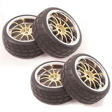 4pcs Tires & Rim Wheel for 1/10 HSP HPI Traxxas On-Road Racing Car A