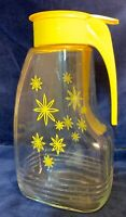 Vintage EZ Por Glass Juice Pitcher - Yellow Flowers with Yellow Lid