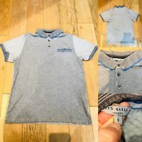 Mens TED BAKER Polo Shirt T-shirt Size S Small Grey/Blue Short Sleeve Top