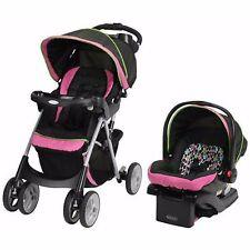 Baby Stroller Car Seat Travel System Pink Pram Buggies Girls Storage Basket New