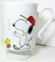 "Peanuts Snoopy Woodstock Golfing ""You're Away"" Porcelain Pedestal Coffee Mug Cup"