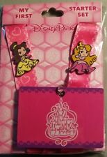 Disney Parks My First Starter Set Princess Pin Lanyard Card Trading Belle - NEW