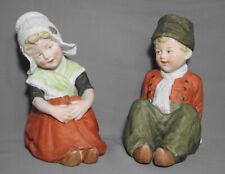 ANTIQUE BISQUE PORCELAIN GERMANY GEBRUDER HEUBACH SITTING DUTCH KIDS FIGURINES
